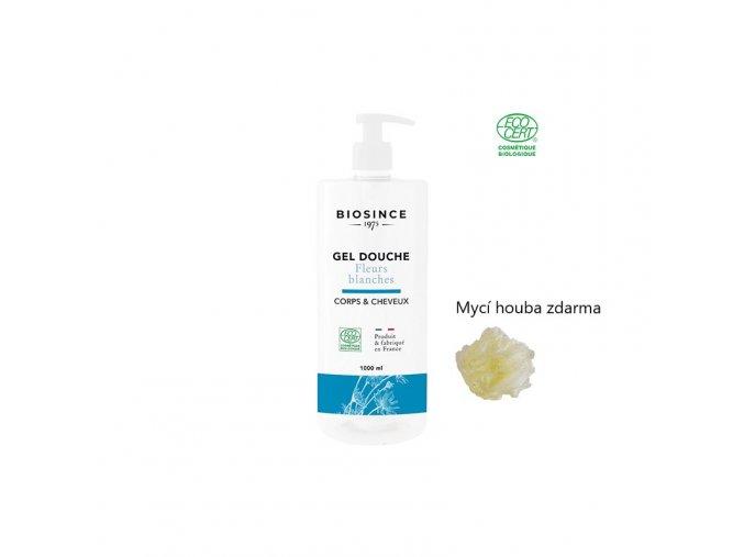 Biosince sprch.gel bílé květy 1000ml+mycí houba