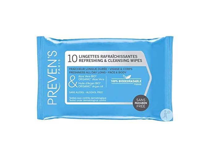 Prevens wipes refreshing and cleansing 10 wipes