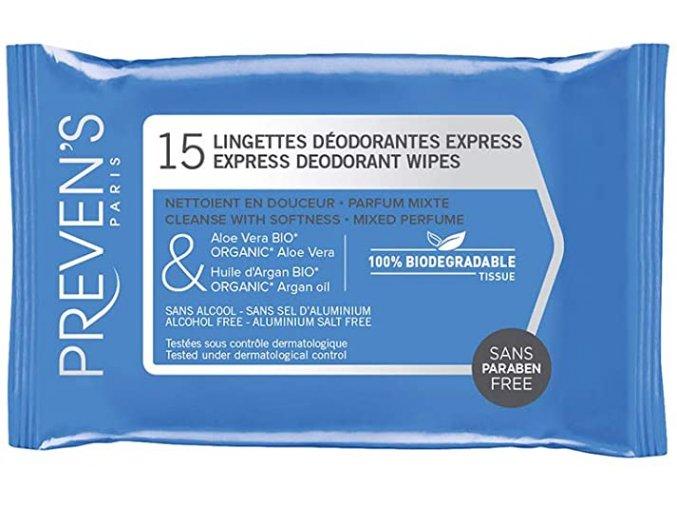 Prevens wipes deodorant 15 wipes