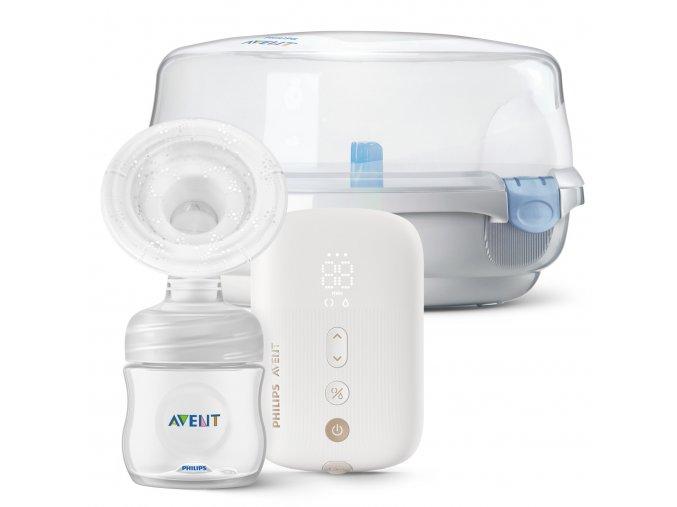 AVENT Odsávačka mateřského mléka elektronická Premium dobíjecí SCF396 + Sterilizator do MW