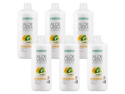 LR LIFETAKT Aloe Vera Drinking Gel Traditional s medem Série 6 ks 6 x 1 000 ml