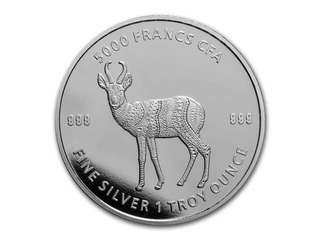 2021 republic of chad 1 oz silver mandala antelope bu 233677 obv