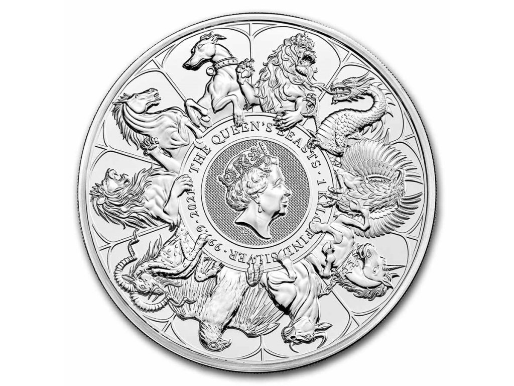 2021 great britain kilo silver queens beasts collector coin 232035 slab