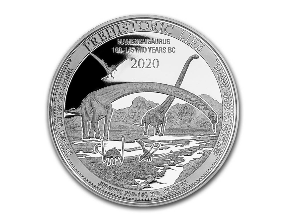 2020 democratic rep of congo 1 oz silver mamenchisaurus bu 226168 obv
