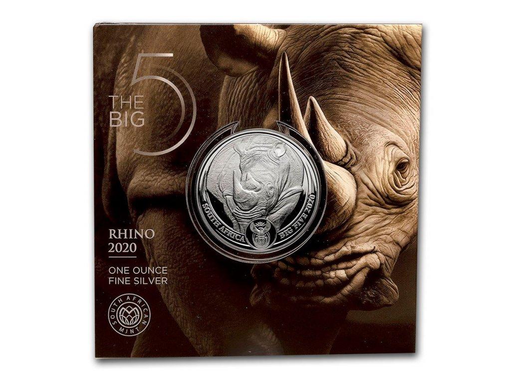 2020 south africa 1 oz silver big five rhino bu 209056 rev