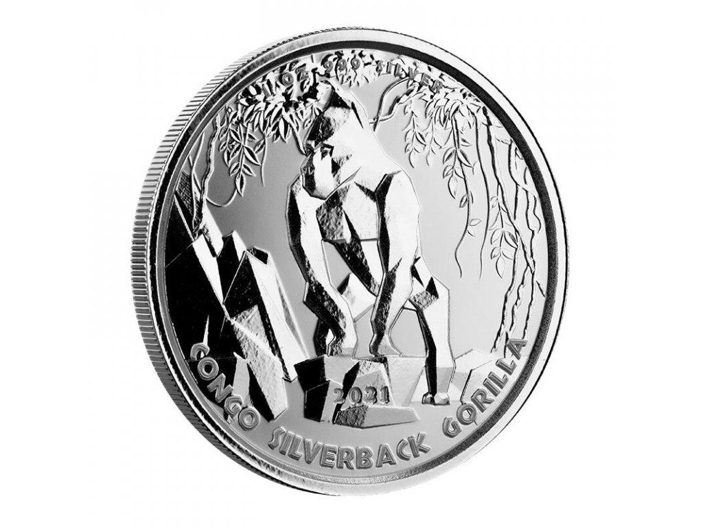1 oz silver gorilla congo 2021 cfa 5000