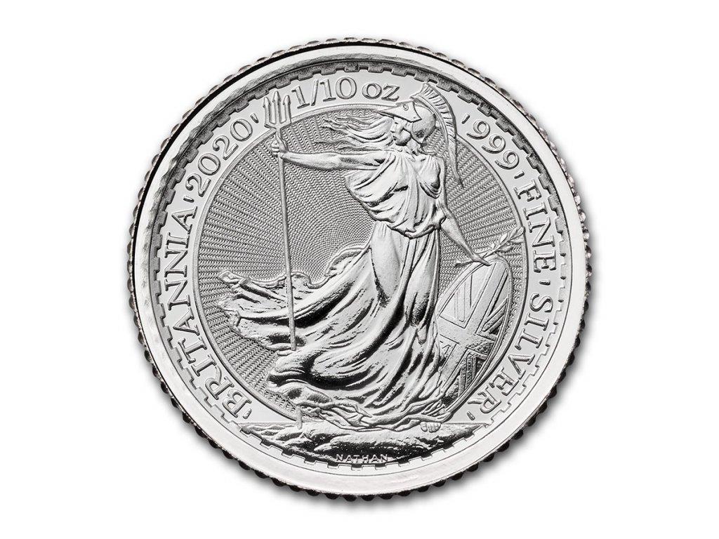 2020 great britain 1 10 oz silver britannia bu 219331 obv