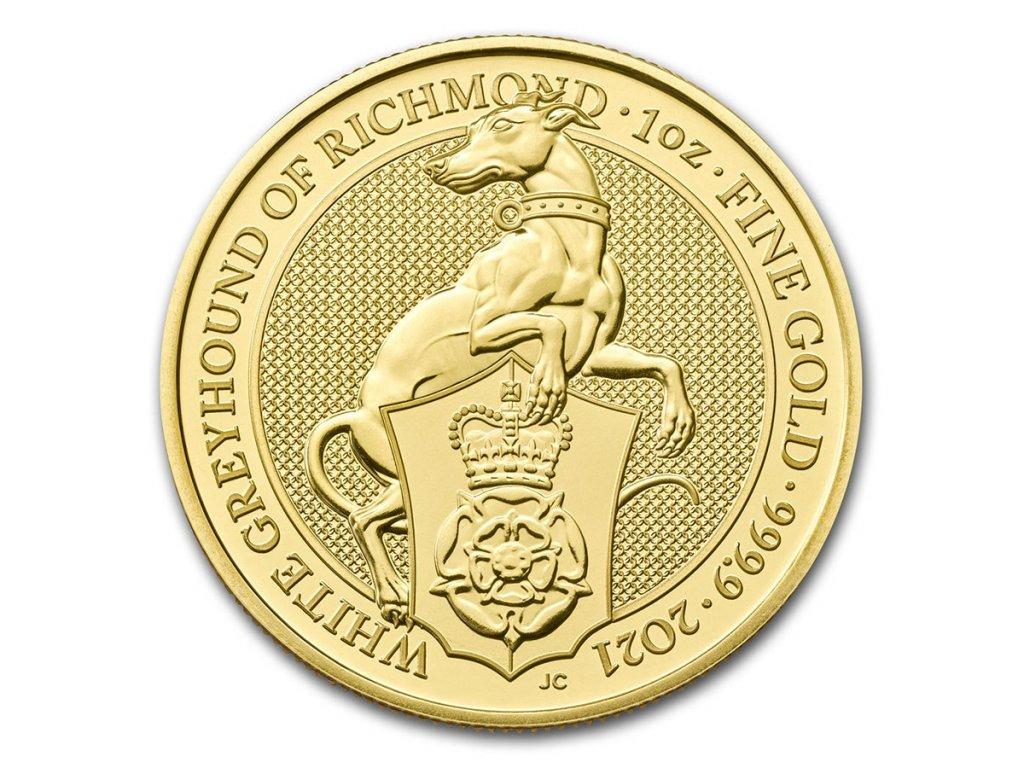 2021 great britain 1 oz gold queens beasts the white greyhound 217698 slab