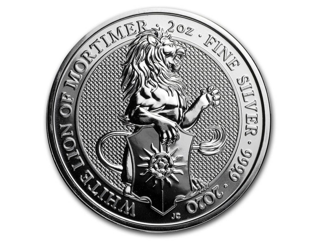 2020 great britain 2 oz silver queens beasts the white lion 197697 slab