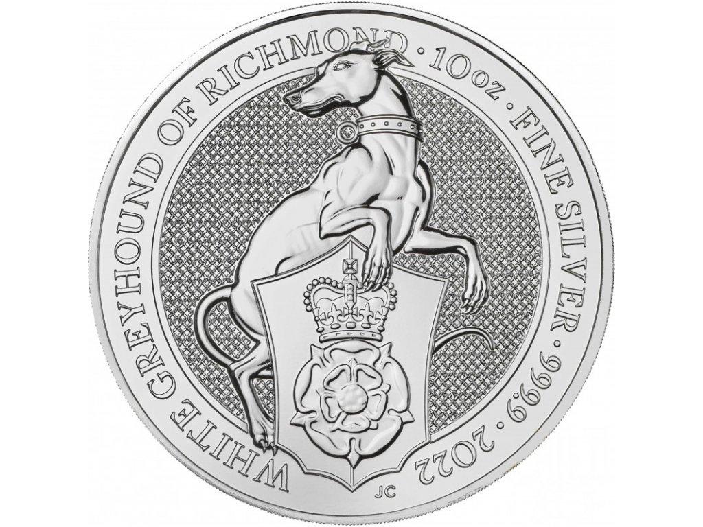 uk 10 oz silver queen s beast 2022 white greyhound of richmond bu