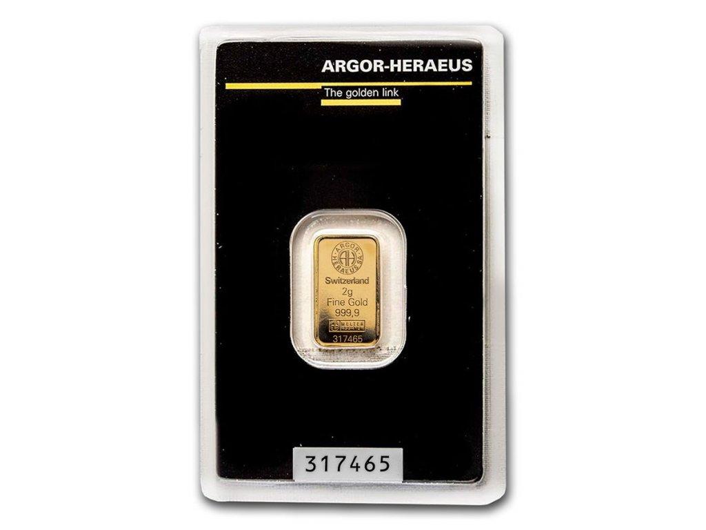 2 gram gold bar argor heraeus in assay 96051 slab