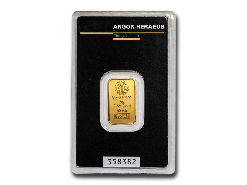 5 gram gold bar argor heraeus in assay 96054 slab