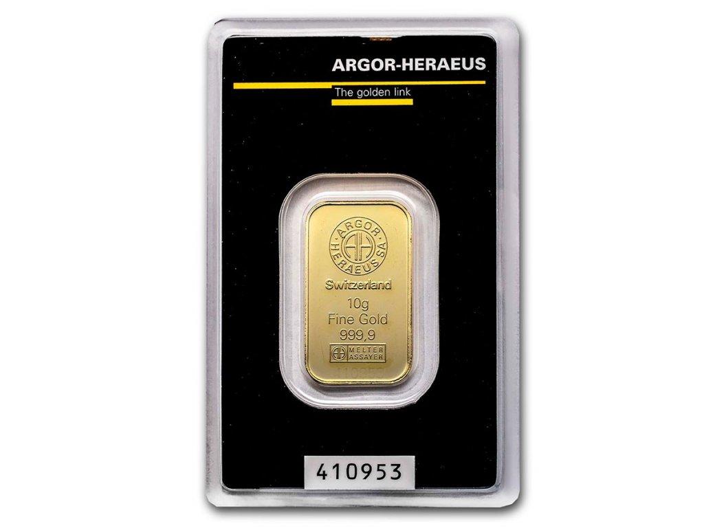 10 gram gold bar argor heraeus in assay 96059 slab
