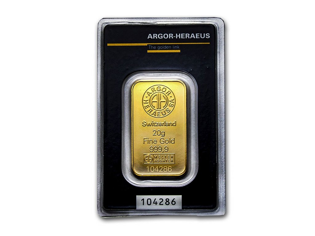 20 gram gold bar argor heraeus kinebar design in assay 216325 slab