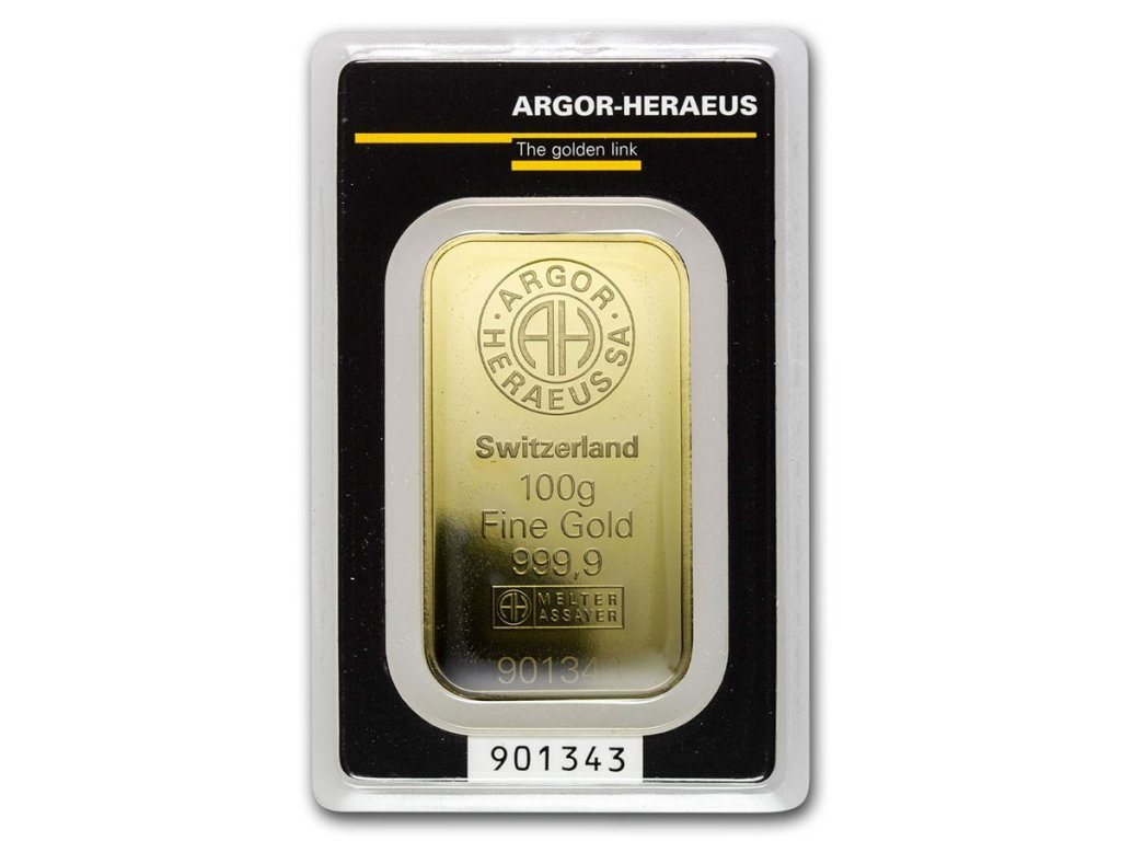 100 gram gold bar argor heraeus in assay 80084 Slab