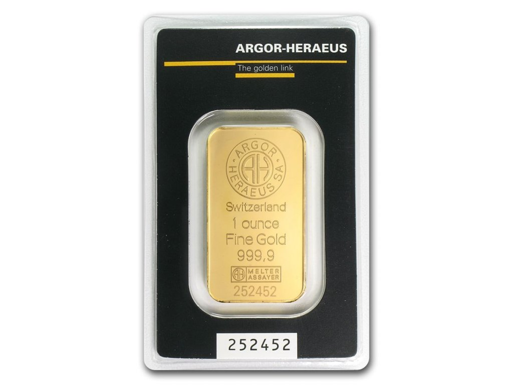 1 oz gold bar argor heraeus in assay 45453 Slab
