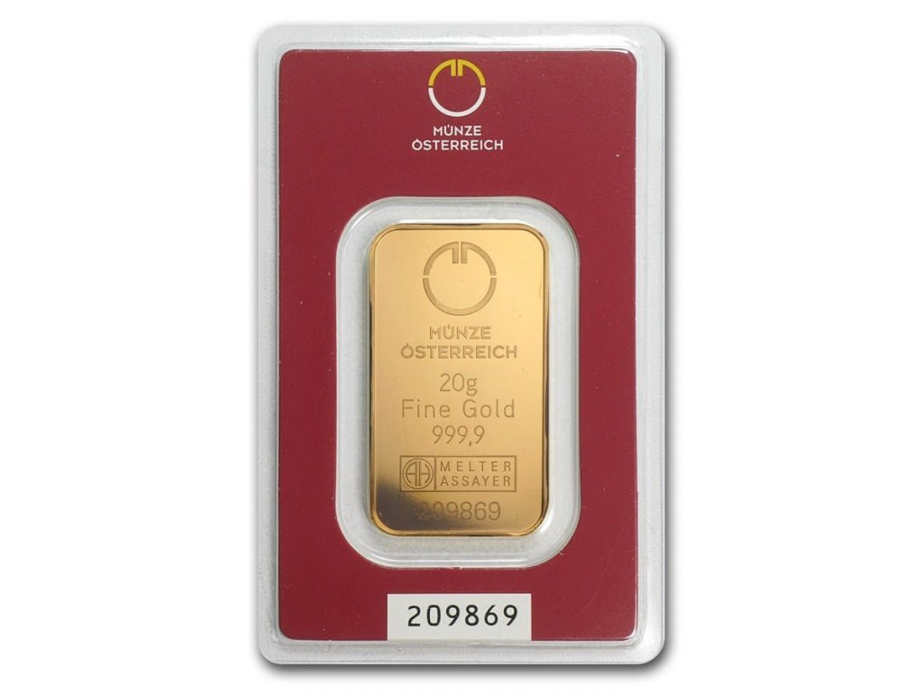 20 gram gold bar austrian mint in assay 78377 Slab