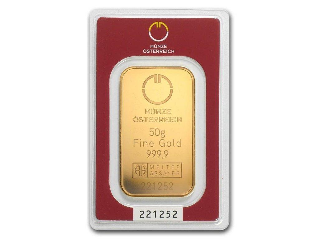 50 gram gold bar austrian mint in assay 78379 Slab