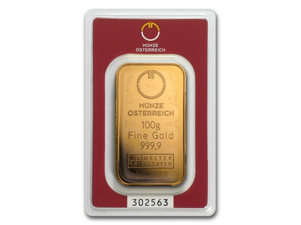 100 gram gold bar austrian mint in assay 78380 Slab