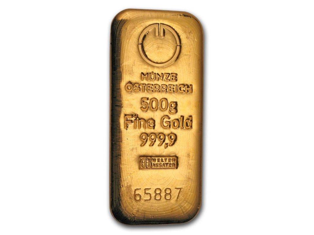 500 gram gold bar austrian mint cast 78386 Obv