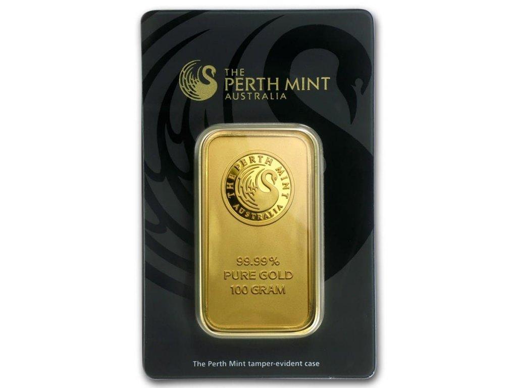 100 gram gold bar the perth mint in assay 78889 slab