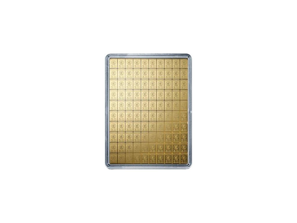 100 x 1 gram gold valcambi combibar in assay 85612 Obv