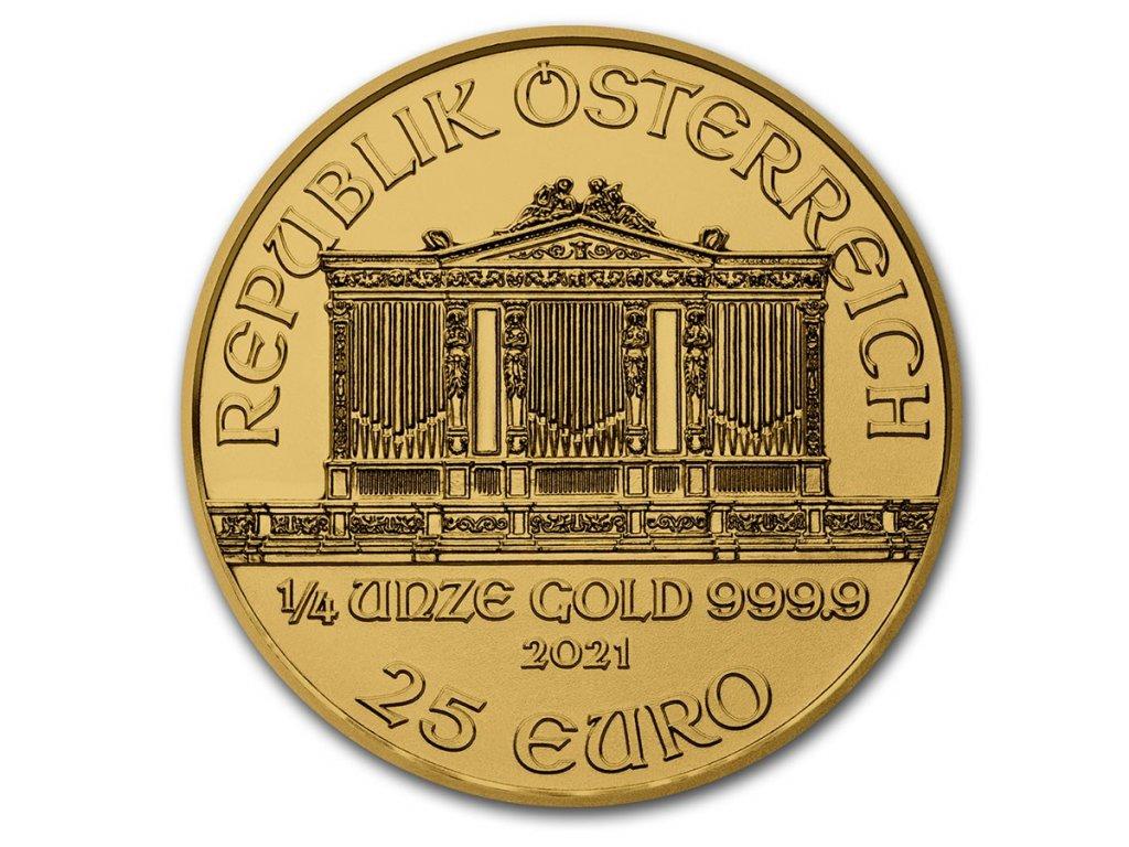 2021 austria 1 4 oz gold philharmonic bu 224789 obv