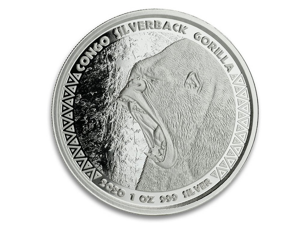 2020 republic of congo 1 oz silver silverback gorilla prooflike 207656 slab