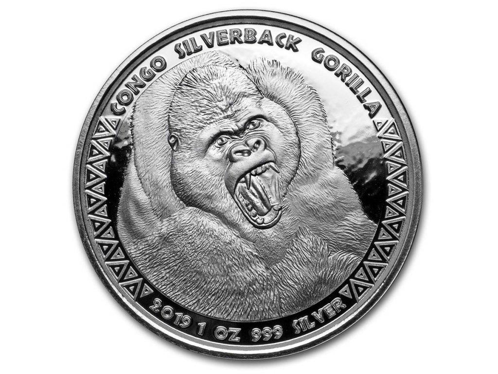 2019 republic of congo 1 oz silver silverback gorilla prooflike 192161 slab