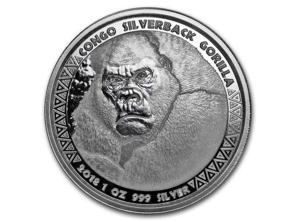 2018 republic of congo 1 oz silver silverback gorilla prooflike 170761 slab