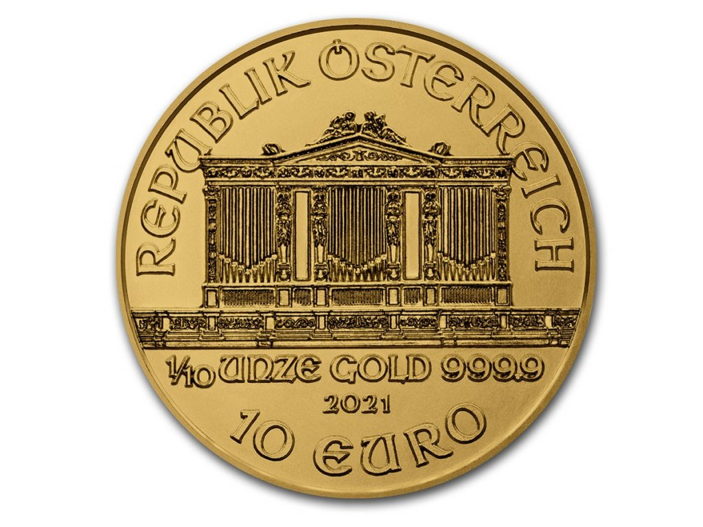 2021 austria 1 10 oz gold philharmonic bu 224794 obv