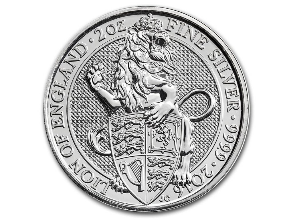 2016 great britain 2 oz silver queens beasts the lion 101626 Slab