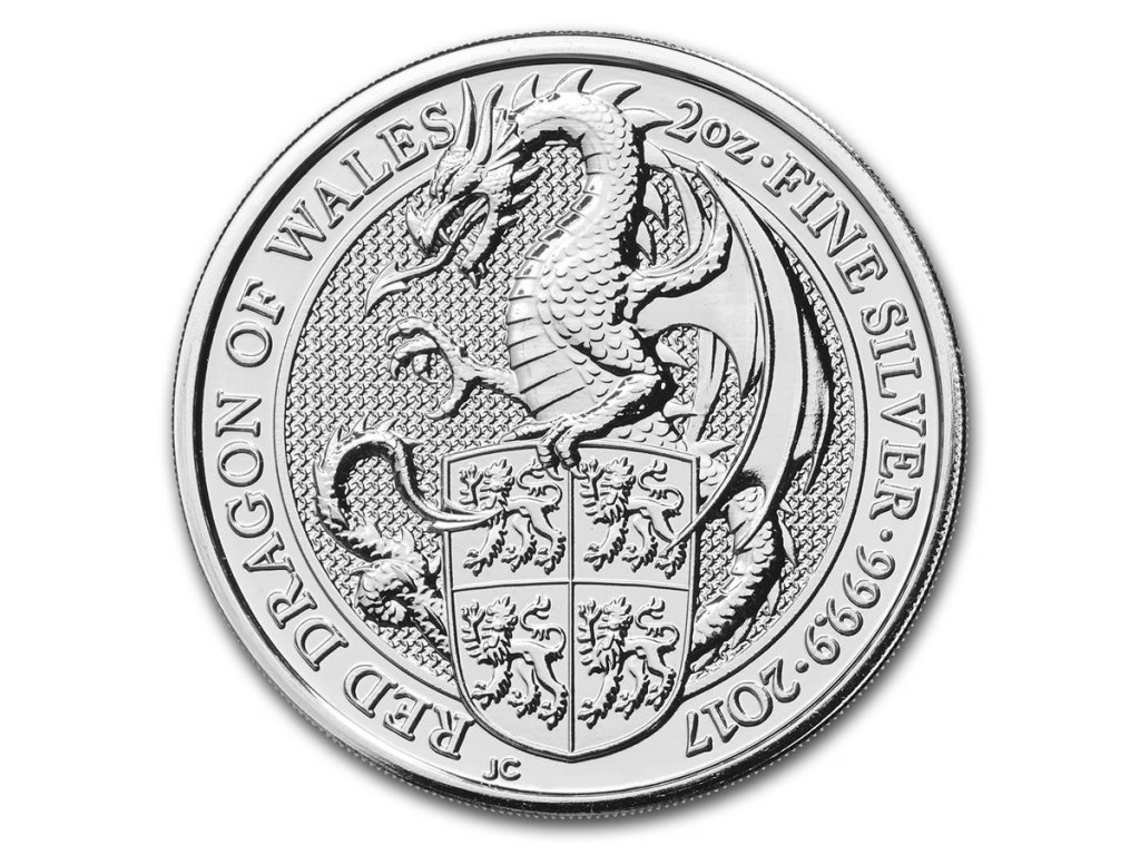 2017 great britain 2 oz silver queens beasts the dragon 117681 Slab