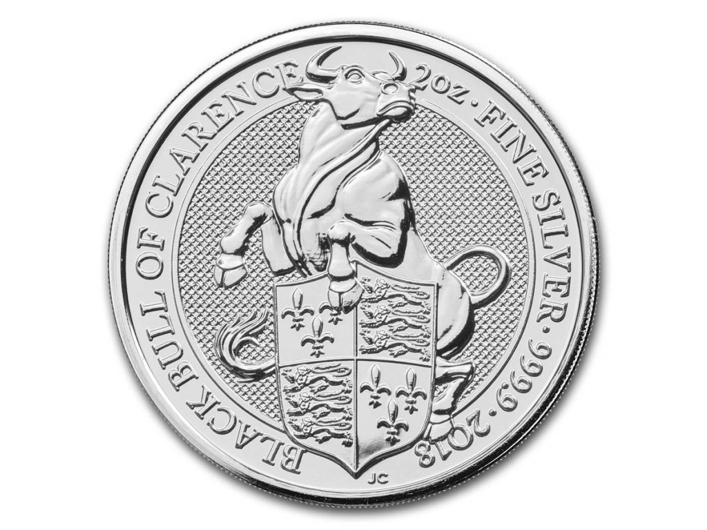 2018 great britain 2 oz silver queens beasts the bull 163304 Slab