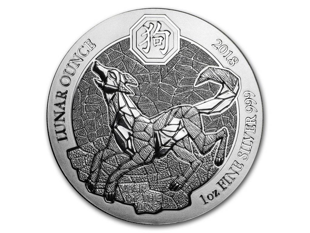 2018 rwanda 1 oz silver lunar year of the dog bu 153647 Slab