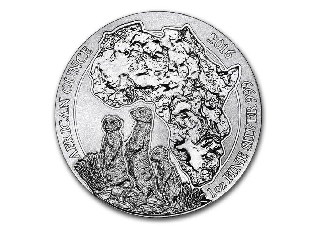 2016 rwanda 1 oz silver african meerkat bu 93776 Obv