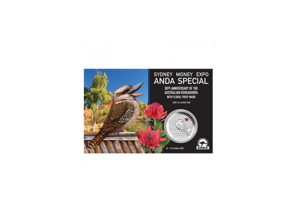 sydney money expo anda special 30th anniversary of australian kookaburra 2020 1oz silver coin with waratah privy mark