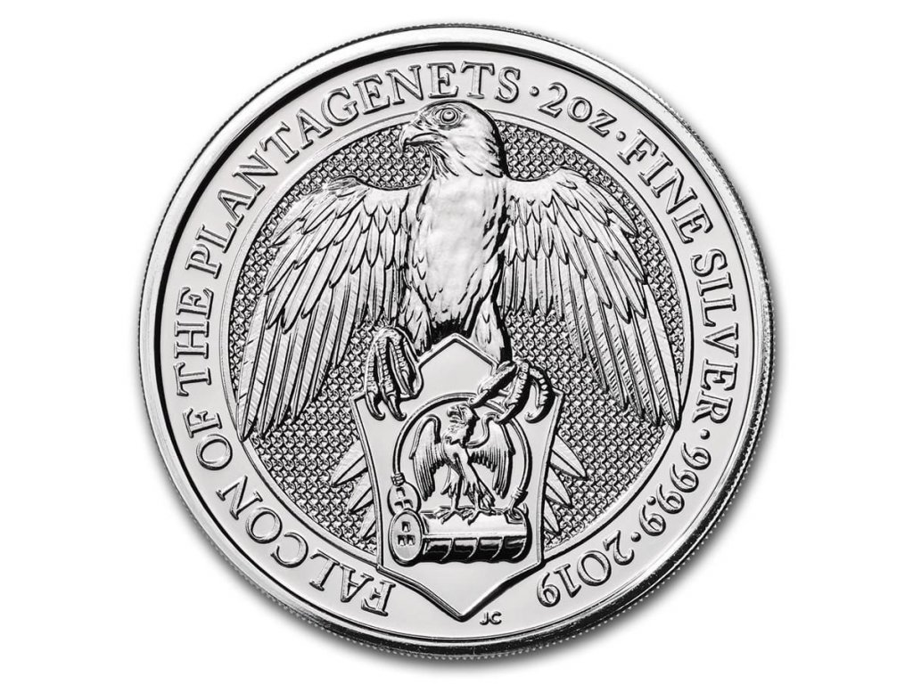 2019 great britain 2 oz silver queens beasts the falcon 173239 slab