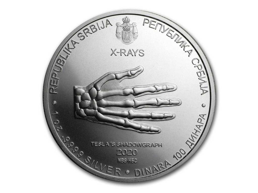 2020 serbia 1 oz silver 100 dinar nikola tesla x ray bu 206416 obv