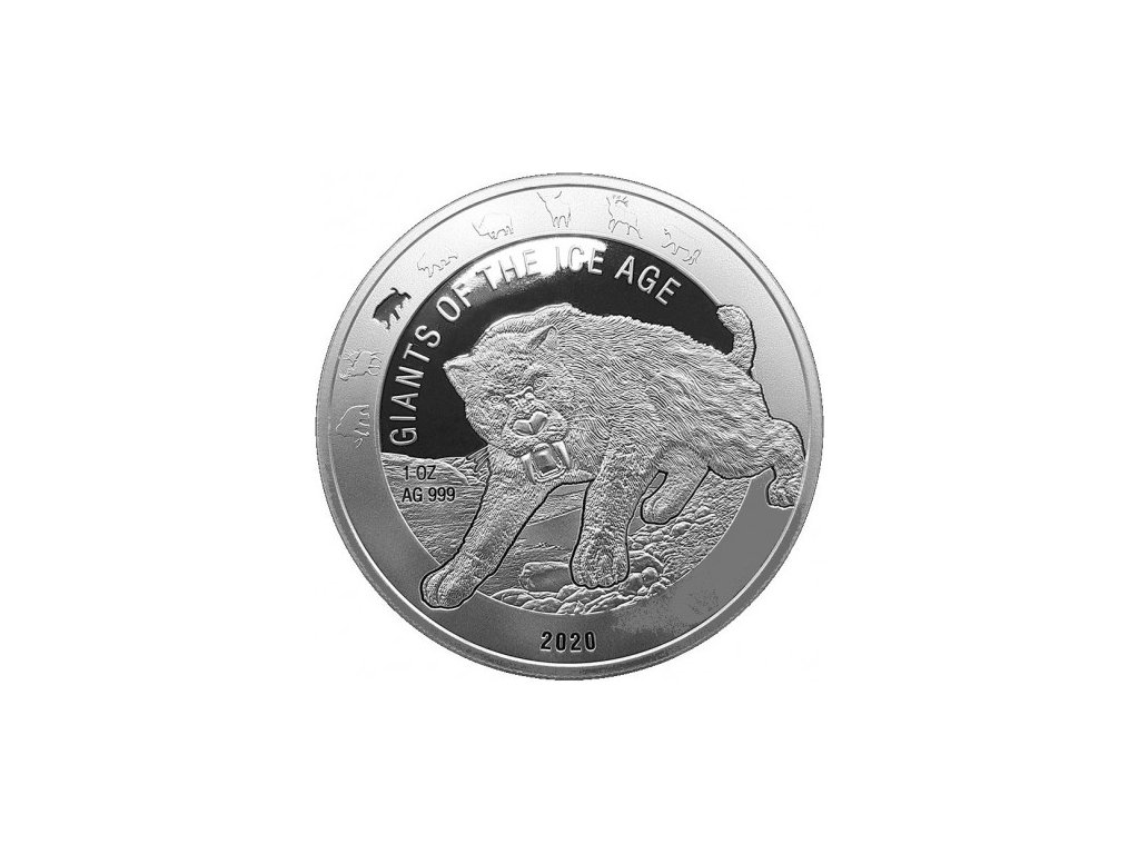 ghana 1 oz silver giants of the ice age 2020 saber tooth cat 5 cedis