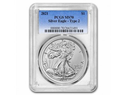 2021 american silver eagle ms 70 pcgs type 2 232471 slab