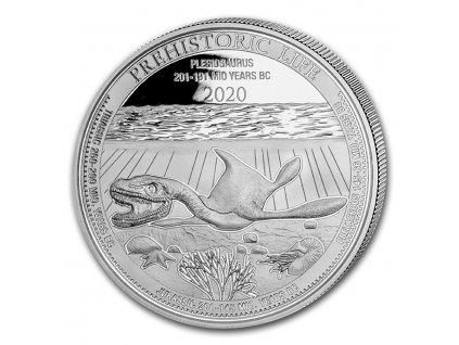 2020 democratic rep of congo 1 oz silver plesiosaurus bu 220320 slab