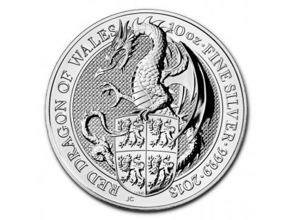 2018 great britain 10oz silver queens beasts the dragon obverse coin(2)