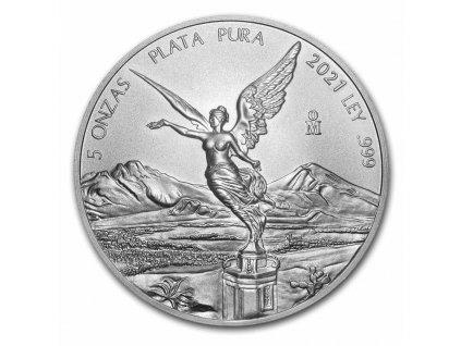 2021 mexico 5 oz silver libertad bu 231878 obv
