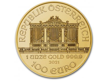 2021 1 oz austrian gold philharmonic coin bu 224757 obv
