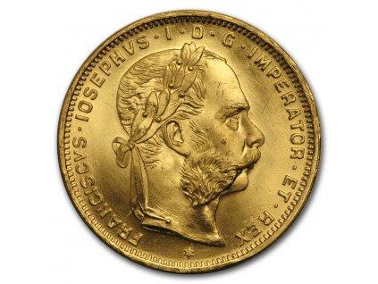1892 austria gold 8 florin 20 francs bu 199666 rev