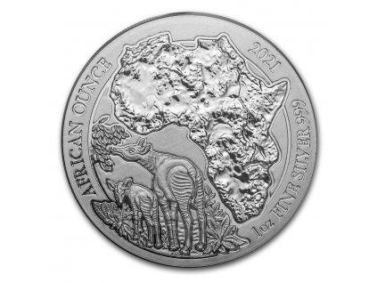 2021 rwanda 1 oz silver african okapi bu 221505 obv