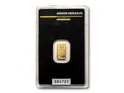 1 gram gold bar argor heraeus in assay 96048 SLAB