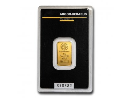 5 gram gold bar argor heraeus in assay 96054 slab