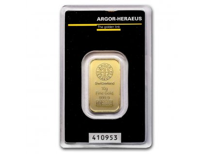 10 gram gold bar argor heraeus in assay 96059 slab